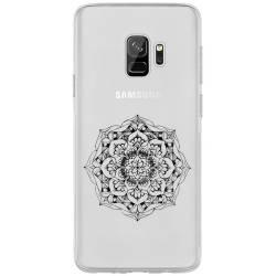 Coque transparente Samsung Galaxy S9 mandala noir