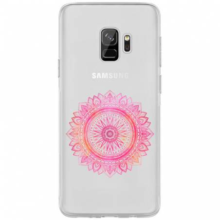 Coque transparente Samsung Galaxy S9 mandala rose
