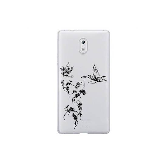 Coque transparente Nokia 3 feminine envol fleur