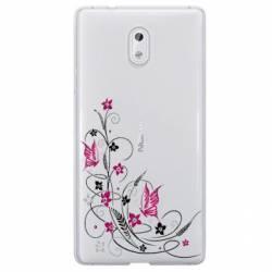 Coque transparente Nokia 3 feminine fleur papillon