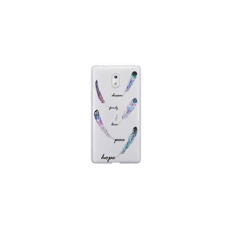 Coque transparente Nokia 3 feminine plume couleur