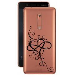 Coque transparente Nokia 5 feminine cœur infini