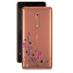 Coque transparente Nokia 5 feminine fleur papillon