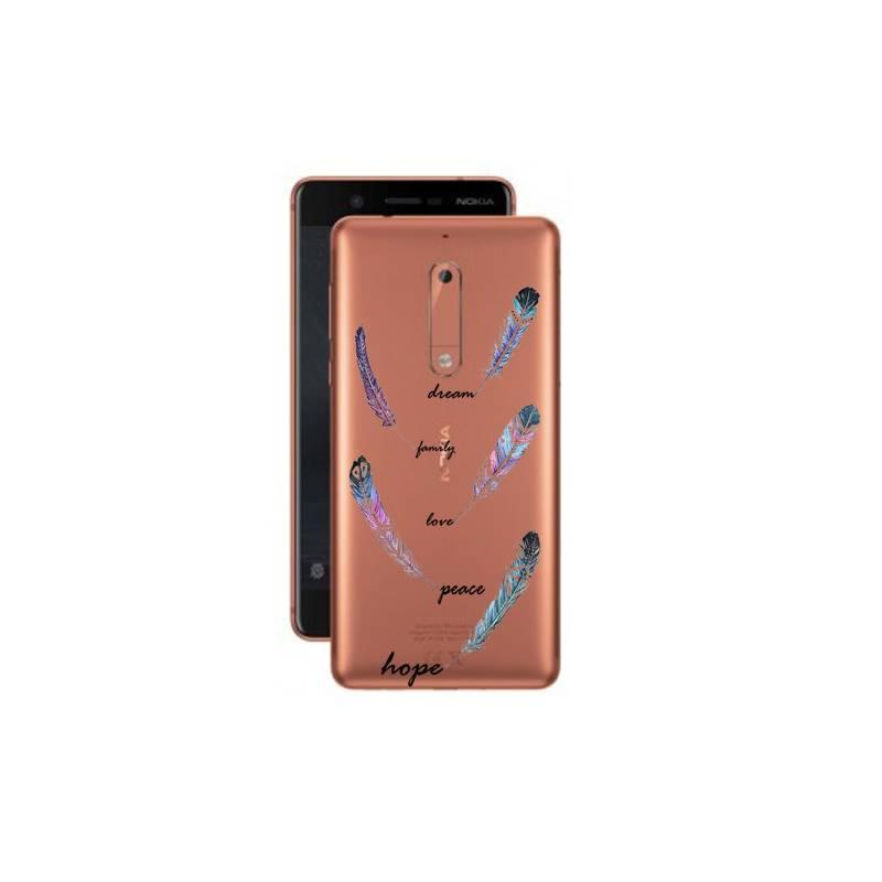 Coque transparente Nokia 5 feminine plume couleur