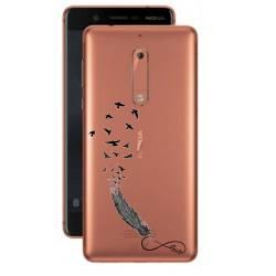 Coque transparente Nokia 5 feminine plume infini