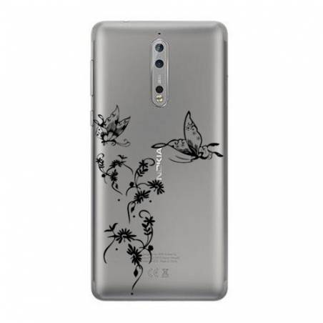 Coque transparente Nokia 8 feminine envol fleur