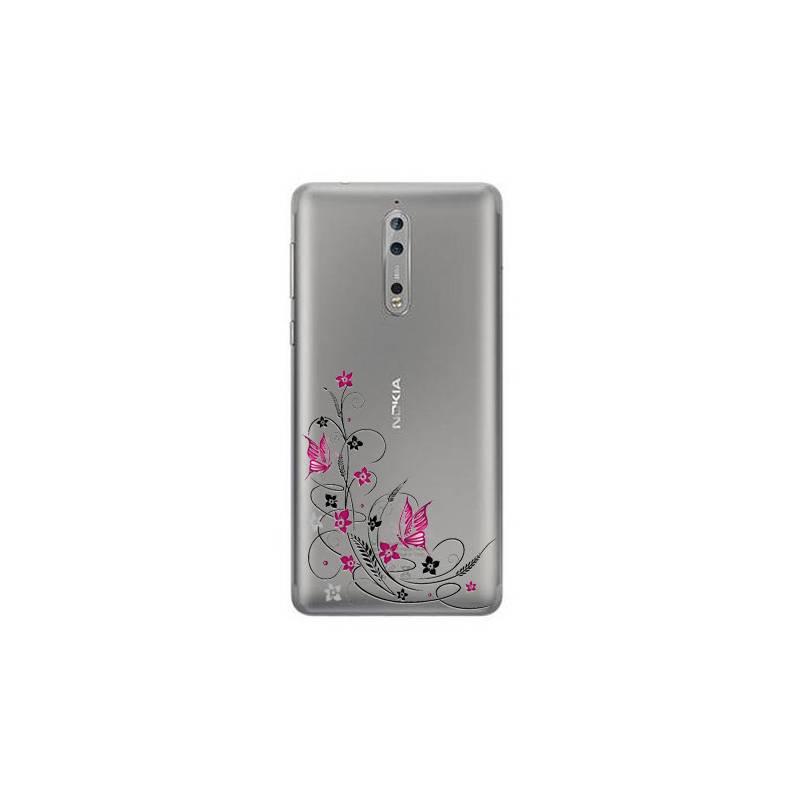 Coque transparente Nokia 8 feminine fleur papillon