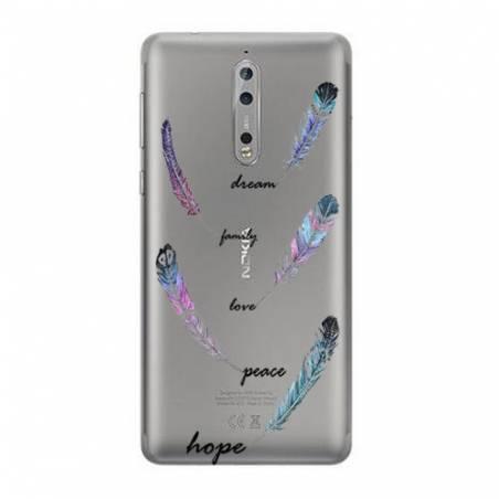 Coque transparente Nokia 8 feminine plume couleur