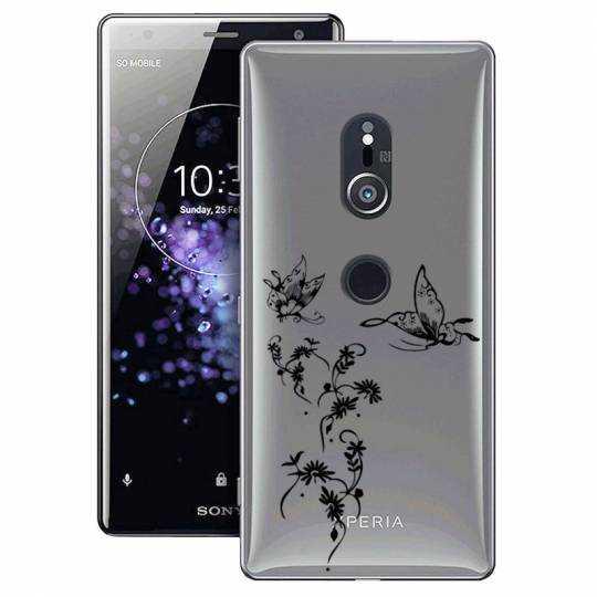 Coque transparente Sony Xperia XZ2 feminine envol fleur