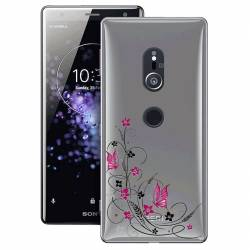 Coque transparente Sony Xperia XZ2 feminine fleur papillon