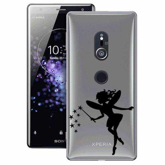 Coque transparente Sony Xperia XZ2 magique fee noir