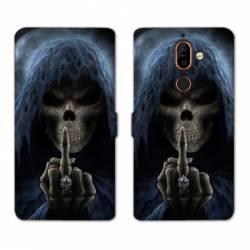 RV Housse cuir portefeuille Nokia 7 Plus tete de mort