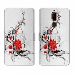 RV Housse cuir portefeuille Nokia 7 Plus fleurs