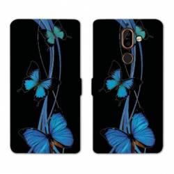 RV Housse cuir portefeuille Nokia 7 Plus papillons