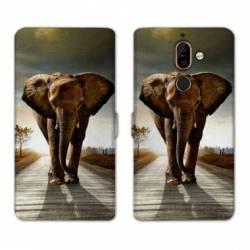 RV Housse cuir portefeuille Nokia 7 Plus savane