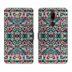 RV Housse cuir portefeuille Nokia 7 Plus motifs Aztec azteque