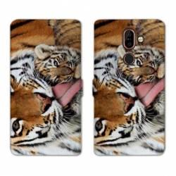 RV Housse cuir portefeuille Nokia 7 Plus felins