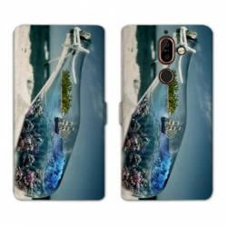 RV Housse cuir portefeuille Nokia 7 Plus Mer