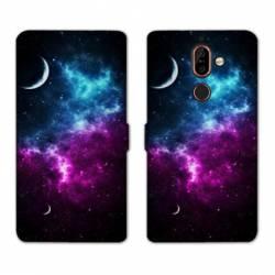 RV Housse cuir portefeuille Nokia 7 Plus Espace Univers Galaxie