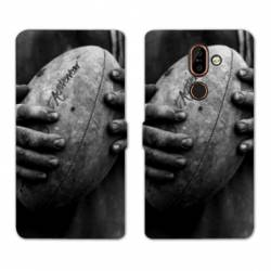 RV Housse cuir portefeuille Nokia 7 Plus Rugby