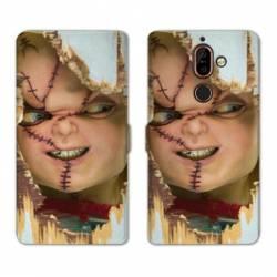 RV Housse cuir portefeuille Nokia 7 Plus Horreur