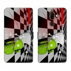 RV Housse cuir portefeuille Nokia 7 Plus apple vs android