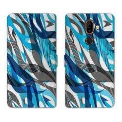 RV Housse cuir portefeuille Nokia 7 Plus Etnic abstrait