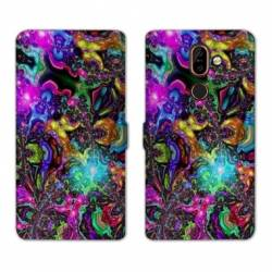 RV Housse cuir portefeuille Nokia 7 Plus Psychedelic