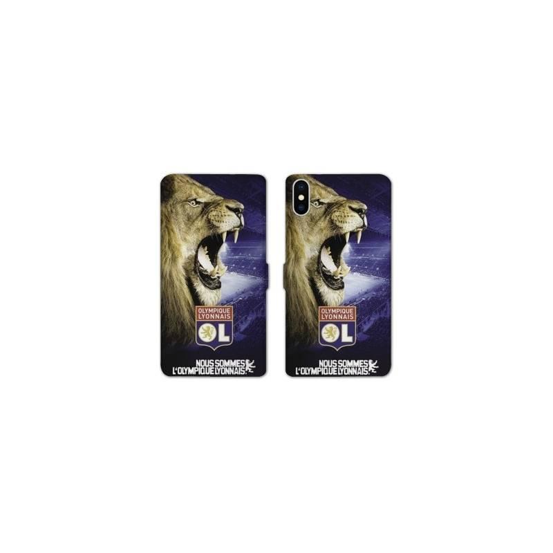RV Housse cuir portefeuille Iphone X Licence Olympique Lyonnais - Rage de vaincre