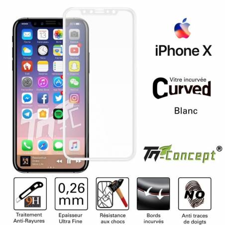 Vitre protection / Verre trempé incurvé 3D Iphone X