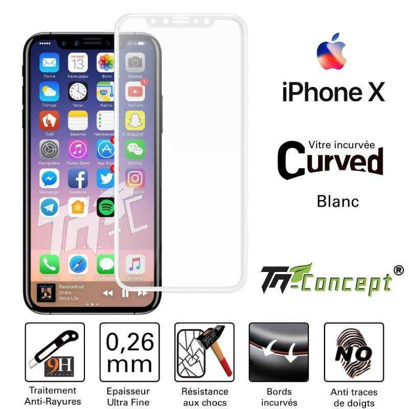 Vitre protection / Verre trempé incurvé 3D Iphone X / XR