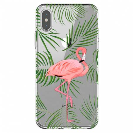 Coque transparente Iphone X Flamant Rose