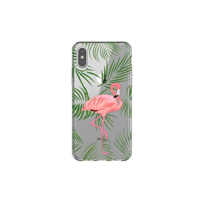 Coque transparente Iphone X Flamant Rose