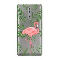 Coque transparente Nokia 8 Flamant Rose