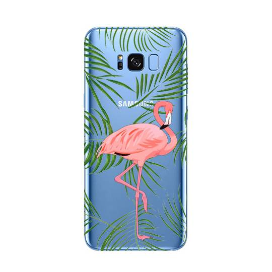Coque transparente Samsung Galaxy S8 Plus + Flamant Rose