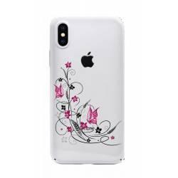 Coque transparente Iphone XS feminine fleur papillon