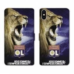 RV Housse cuir portefeuille Iphone XS License Olympique Lyonnais OL - Rage de vaincre