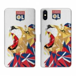 RV Housse cuir portefeuille Iphone XS License Olympique Lyonnais OL - lion color
