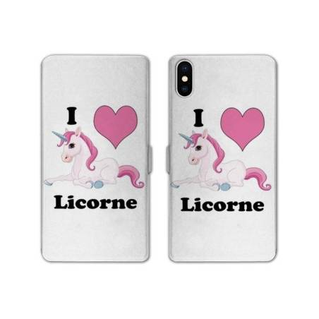 RV Housse cuir portefeuille Iphone XS Licorne
