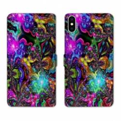 RV Housse cuir portefeuille Iphone XS Psychedelic