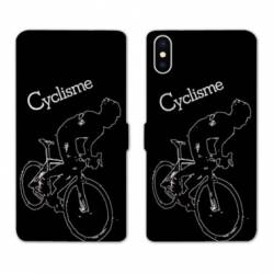 RV Housse cuir portefeuille Iphone XS Cyclisme