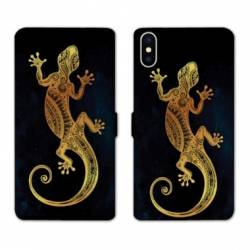 RV Housse cuir portefeuille Iphone XS Animaux Maori