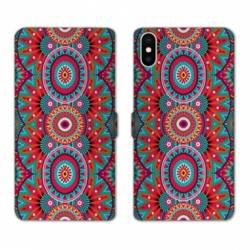 RV Housse cuir portefeuille Iphone XS Etnic abstrait