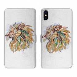 RV Housse cuir portefeuille Iphone XS Animaux Ethniques