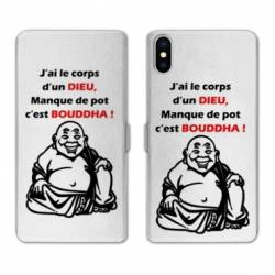 RV Housse cuir portefeuille Iphone XS Humour