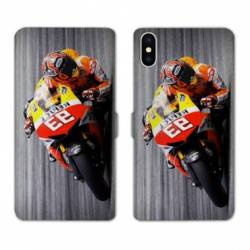 RV Housse cuir portefeuille Iphone XS Moto