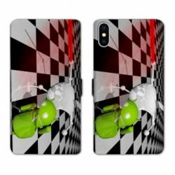 RV Housse cuir portefeuille Iphone XS apple vs android