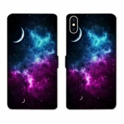 RV Housse cuir portefeuille Iphone XS Espace Univers Galaxie