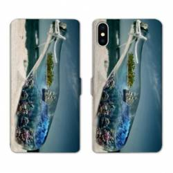 RV Housse cuir portefeuille Iphone XS Mer
