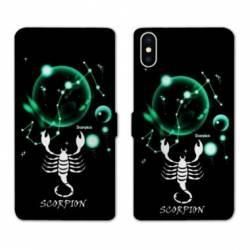 RV Housse cuir portefeuille Iphone XS signe zodiaque